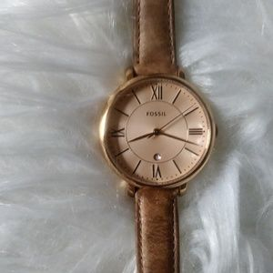 Lady's Stainless Steel- Rose Gold Fossil Watch